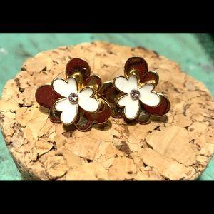 Kate Spade White Enamel Pansy Blossom Stud Earring